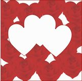 Τρεις καρδιές σε ένα υπόβαθρο των καρδιών από τα τριαντάφυλλα Στοκ φωτογραφία με δικαίωμα ελεύθερης χρήσης