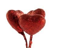 Τρεις κόκκινες καρδιές διακοσμήσεων Στοκ φωτογραφία με δικαίωμα ελεύθερης χρήσης