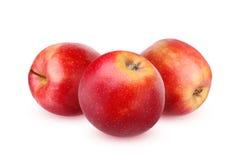 Τρεις κόκκινη ολόκληρη Apple σε ένα άσπρο υπόβαθρο Στοκ εικόνα με δικαίωμα ελεύθερης χρήσης