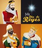 Τρεις μάγοι και αστέρι για ` Dia de Reyes ` ή Epiphany, διανυσματική απεικόνιση Στοκ φωτογραφία με δικαίωμα ελεύθερης χρήσης