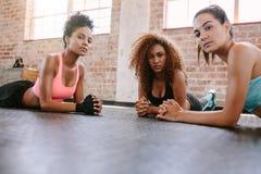 Τρεις νέες γυναίκες που βρίσκονται στο πάτωμα γυμναστικής στοκ εικόνα