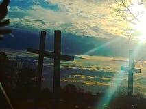 Τρεις ξύλινοι σταυροί στοκ φωτογραφίες
