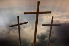 Τρεις ξύλινοι σταυροί Στοκ Εικόνες
