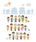 Τρεις οικογένειες γενεάς που στέκονται μαζί μπροστά από τα σπίτια ελεύθερη απεικόνιση δικαιώματος
