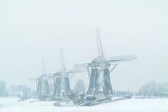 Τρεις ολλανδικοί ανεμόμυλοι κατά τη διάρκεια των χιονοπτώσεων Στοκ εικόνες με δικαίωμα ελεύθερης χρήσης