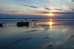 Τρεις πάπιες στο ηλιοβασίλεμα Στοκ Εικόνες
