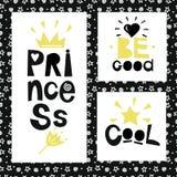 Τρεις προτάσεις στο υπόβαθρο των αστεριών και των σπειρών Πριγκήπισσα να είστε καλός δροσίστε ελεύθερη απεικόνιση δικαιώματος