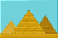 Τρεις πυραμίδες της αρχαίας Αιγύπτου των φραγμών διανυσματική απεικόνιση