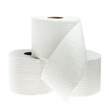 Τρεις ρόλοι του άσπρου διατρυπημένου χαρτιού τουαλέτας Στοκ φωτογραφία με δικαίωμα ελεύθερης χρήσης