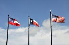 Τρεις σημαίες του Τέξας Στοκ φωτογραφία με δικαίωμα ελεύθερης χρήσης