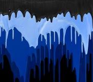 Τρεις σκιές του μπλε και μαύρου σταλάγματος χρωμάτων που απομονώνεται στο Μαύρο Στοκ Εικόνα