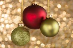 Τρεις σφαίρες Χριστουγέννων Στοκ εικόνα με δικαίωμα ελεύθερης χρήσης