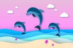 Τρεις τα δελφίνια άλματος στη θάλασσα στο έγγραφο κόβουν το ύφος Το Origami έβαλε όμορφο seascape και τον ουρανό σε στρώσεις Ειρη ελεύθερη απεικόνιση δικαιώματος