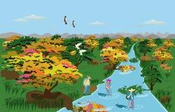 Τρεις τουρίστες περπατούν στο ζωηρόχρωμο δάσος είναι εκεί δάση και ρεύμα στο υπόβαθρο ελεύθερη απεικόνιση δικαιώματος