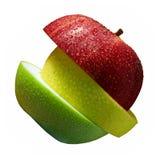 Τρεις φέτες του μήλου Στοκ Εικόνες