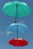 Τρεις χρωματισμένες ομπρέλες Στοκ Εικόνες
