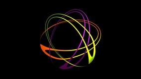 Τρεις ωοειδείς μορφές στα ζωηρά χρώματα που περιστρέφονται και που χτίζουν το πολύχρωμο λουλούδι ελεύθερη απεικόνιση δικαιώματος