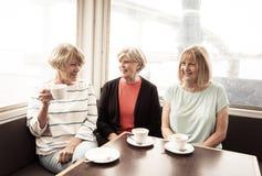 Τρεις όμορφες ανώτερες γυναίκες που απολαμβάνουν την αποχώρηση μαζί που έχει το τσάι ή τον καφέ στοκ εικόνες