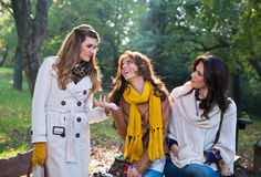 Τρεις όμορφες νέες γυναίκες στο πάρκο στοκ φωτογραφία