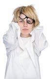 Τρελλή γυναίκα που απομονώνεται στην άσπρη ανασκόπηση Στοκ εικόνα με δικαίωμα ελεύθερης χρήσης