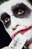 Τρελλό πρόσωπο πλακατζών αποκριές Στοκ Φωτογραφίες