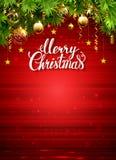 Τρεμοσβημένο υπόβαθρο Χριστουγέννων με τα μπιχλιμπίδια βραδιού Στοκ Φωτογραφία