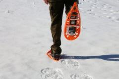 Τρεξίματα αγοριών με τα πορτοκαλιά πλέγματα σχήματος ρακέτας και τα κοτλέ εσώρουχα στο άσπρο χιόνι Στοκ Εικόνες