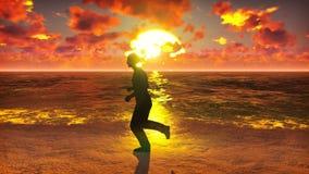 Τρεξίματα αθλητικών τύπων κατά μήκος του ωκεανού παραλιών στην ανατολή Το όμορφο καλοκαίρι περιτυλίχτηκε υπόβαθρο διανυσματική απεικόνιση