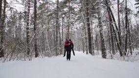 Τρεξίματα ζεύγους στο χειμερινό δάσος σε αργή κίνηση απόθεμα βίντεο