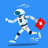 Τρεξίματα ρομπότ με μια ιατρική εξάρτηση, διάνυσμα ασθενοφόρων απομονωμένη ωθώντας s κουμπιών γυναίκα έναρξης χεριών απεικόνιση ελεύθερη απεικόνιση δικαιώματος
