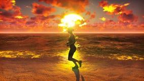 Τρεξίματα φιλάθλων κατά μήκος του ωκεανού παραλιών στην ανατολή Το όμορφο καλοκαίρι περιτυλίχτηκε υπόβαθρο ελεύθερη απεικόνιση δικαιώματος