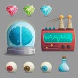Τρελλά εργαστηριακά στοιχεία καθηγητή για το σχέδιο παιχνιδιών ελεύθερη απεικόνιση δικαιώματος