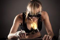 Τρελλή δημιουργική γυναίκα Στοκ φωτογραφία με δικαίωμα ελεύθερης χρήσης