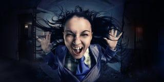 Τρελλή, φωνάζοντας επιχειρησιακή γυναίκα Στοκ Εικόνες