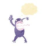 τρελλός βάτραχος κινούμενων σχεδίων με τη σκεπτόμενη φυσαλίδα Στοκ φωτογραφία με δικαίωμα ελεύθερης χρήσης
