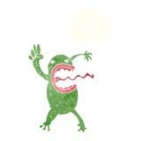 τρελλός βάτραχος κινούμενων σχεδίων με τη σκεπτόμενη φυσαλίδα Στοκ Εικόνες