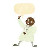 τρελλός επιστήμονας κινούμενων σχεδίων με τη λεκτική φυσαλίδα Στοκ εικόνα με δικαίωμα ελεύθερης χρήσης