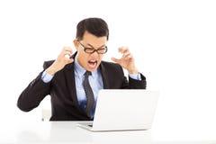 Τρελλός επιχειρηματίας που αισθάνεται 0 Στοκ Φωτογραφία