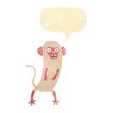 τρελλός πίθηκος κινούμενων σχεδίων με τη λεκτική φυσαλίδα Στοκ Εικόνες