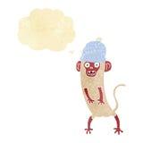τρελλός πίθηκος κινούμενων σχεδίων με τη σκεπτόμενη φυσαλίδα Στοκ Φωτογραφίες
