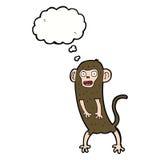 τρελλός πίθηκος κινούμενων σχεδίων με τη σκεπτόμενη φυσαλίδα Στοκ Εικόνα