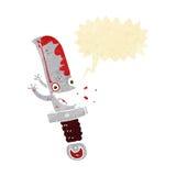 τρελλός χαρακτήρας κινουμένων σχεδίων μαχαιριών με τη λεκτική φυσαλίδα Στοκ Εικόνα