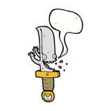 τρελλός χαρακτήρας κινουμένων σχεδίων μαχαιριών με τη λεκτική φυσαλίδα Στοκ φωτογραφίες με δικαίωμα ελεύθερης χρήσης