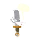 τρελλός χαρακτήρας κινουμένων σχεδίων μαχαιριών με τη λεκτική φυσαλίδα Στοκ φωτογραφία με δικαίωμα ελεύθερης χρήσης