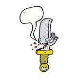 τρελλός χαρακτήρας κινουμένων σχεδίων μαχαιριών με τη λεκτική φυσαλίδα Στοκ Φωτογραφίες