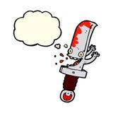 τρελλός χαρακτήρας κινουμένων σχεδίων μαχαιριών με τη σκεπτόμενη φυσαλίδα Στοκ Φωτογραφίες