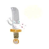 τρελλός χαρακτήρας κινουμένων σχεδίων μαχαιριών με τη σκεπτόμενη φυσαλίδα Στοκ Εικόνες