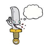 τρελλός χαρακτήρας κινουμένων σχεδίων μαχαιριών με τη σκεπτόμενη φυσαλίδα Στοκ φωτογραφία με δικαίωμα ελεύθερης χρήσης