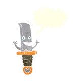 τρελλός χαρακτήρας μαχαιριών κινούμενων σχεδίων με τη λεκτική φυσαλίδα Στοκ Φωτογραφίες