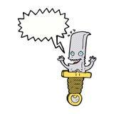 τρελλός χαρακτήρας μαχαιριών κινούμενων σχεδίων με τη λεκτική φυσαλίδα Στοκ εικόνες με δικαίωμα ελεύθερης χρήσης